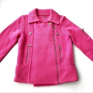 One Girl Who Pink Chunky Knit Sweater Wool Jacket